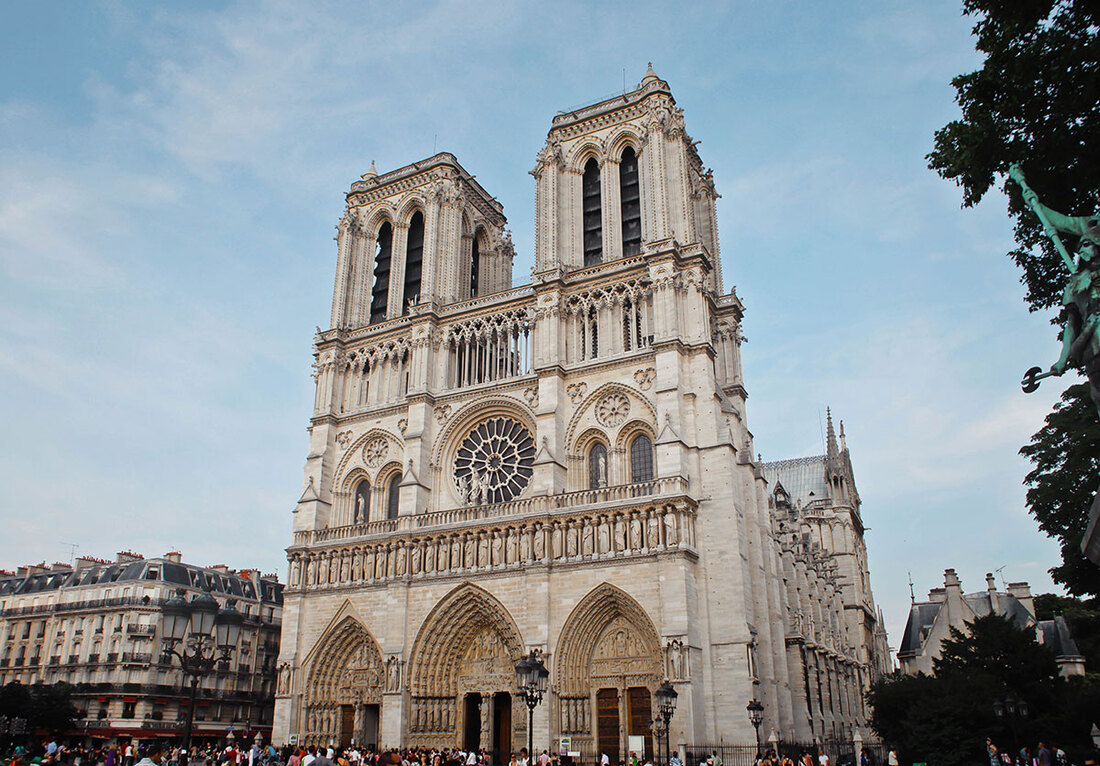 Exterior of the Notre Dame Cathedral in Paris, France