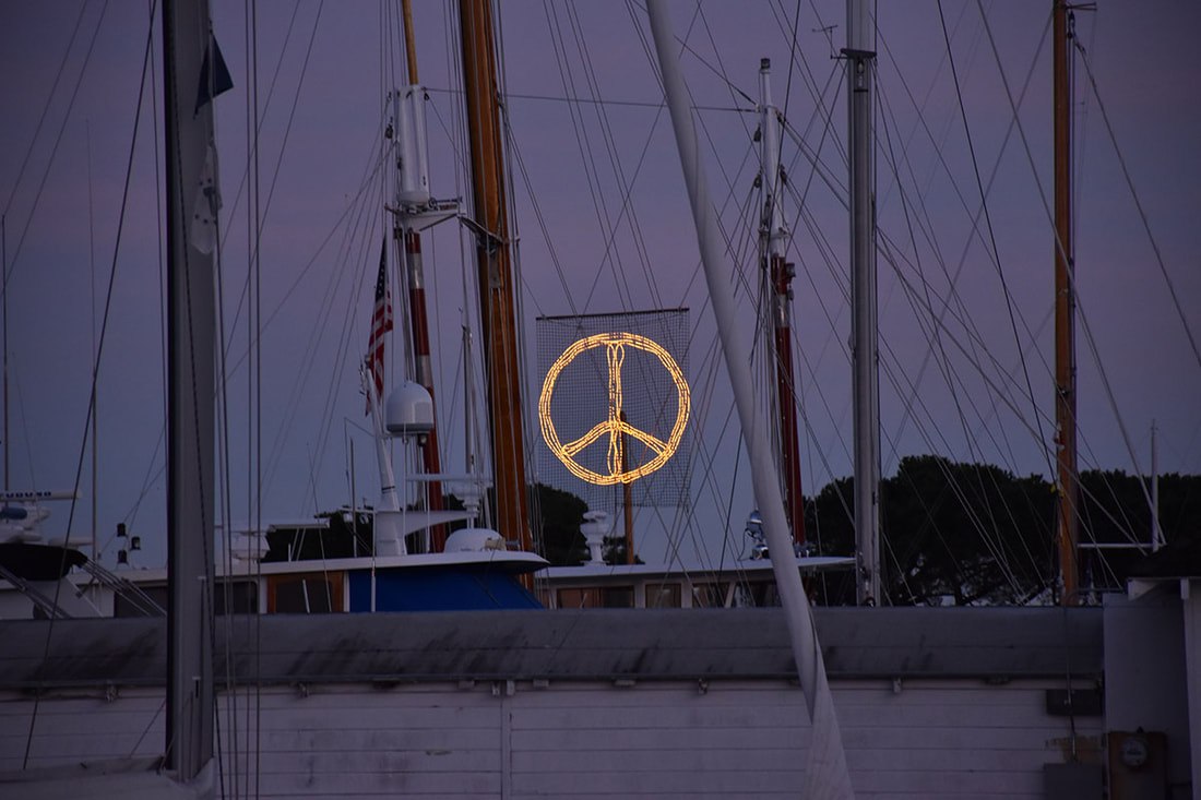 peace symbol in a California marina