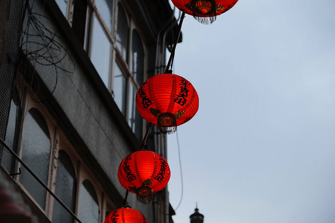 red Chinese lanterns hanging outside